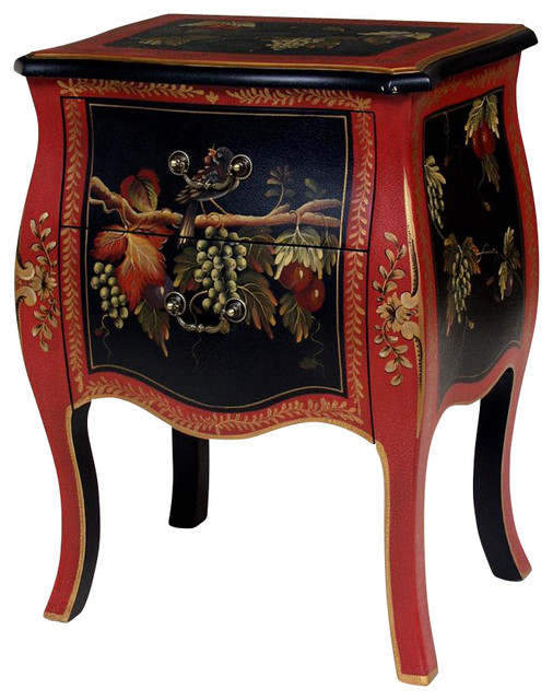 Classic End Table w 2 Drawers & Hand Painted Fruit Design - Contemporary - Side Tables And End ...