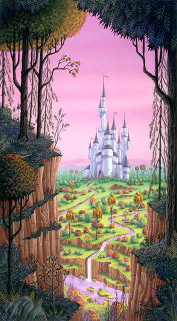 Fantasy castle wall mural traditional wall decals by for Castle wall mural