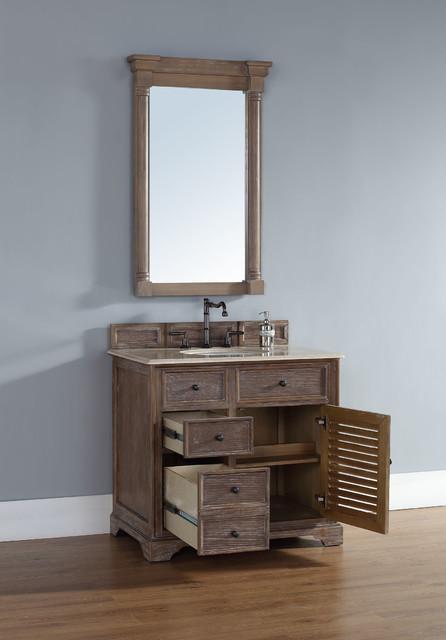36 Inch Savannah Driftwood Grey Single Sink Vanity Beach Style Bathroom Vanities And Sink