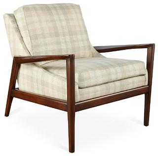 Ebonwood Chair Parchment White Plaid Modern Armchairs Accent Chair
