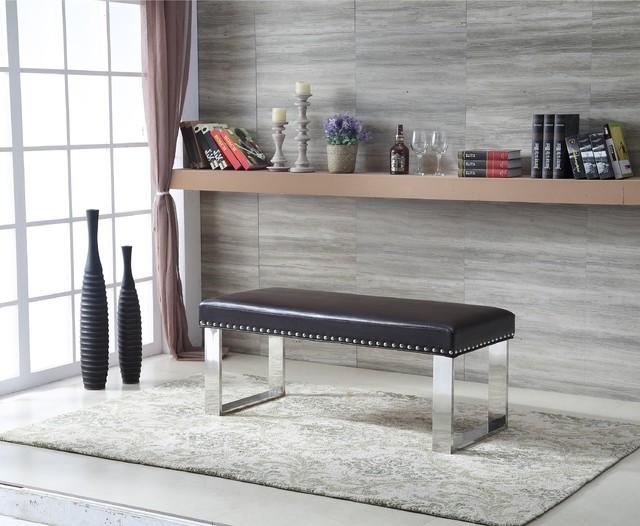 Royal comfort eden modern faux leather bench black for Panche imbottite