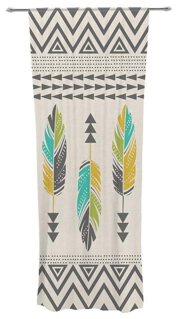 "Amanda Lane ""Painted Feathers Cream"" Tan Tribal Decorative Sheer Curtain - Contemporary ..."