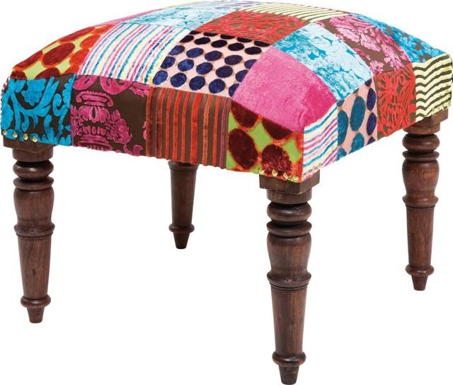 hocker patchwork velvet contempor neo escabeles y otomanas de kare design gmbh. Black Bedroom Furniture Sets. Home Design Ideas