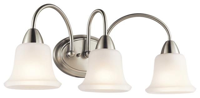 New 3 Light Bathroom Vanity Lighting Fixture Brushed: Nicholson 3 Light Bathroom Vanity Lights In Brushed Nickel