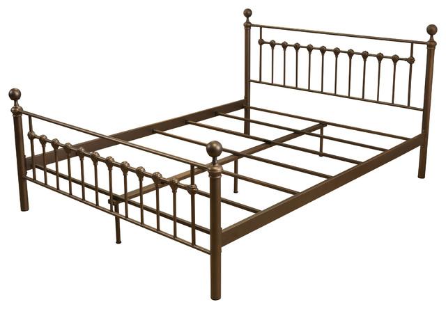 Iron Bed Frames King: Bradford King Size Iron Metal Bed Frame, Brown