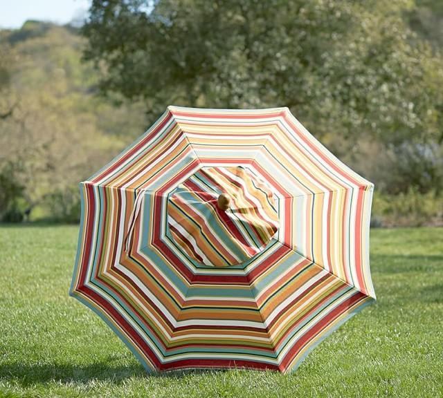 Round Market Umbrella Giorgia Stripe Beach Style