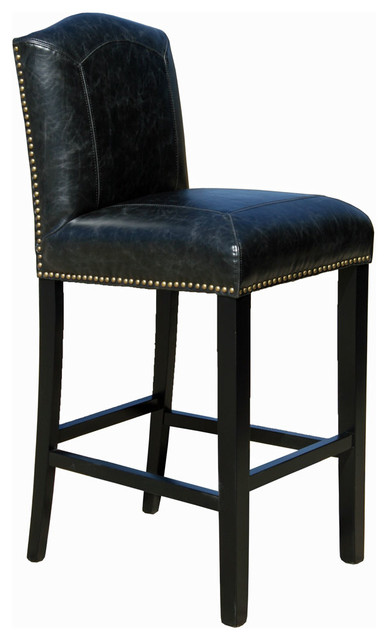 Leather Counter Stool Distress Black Transitional Bar