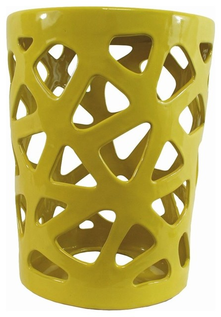 Yellow Ceramic Stool Contemporary Accent And Garden
