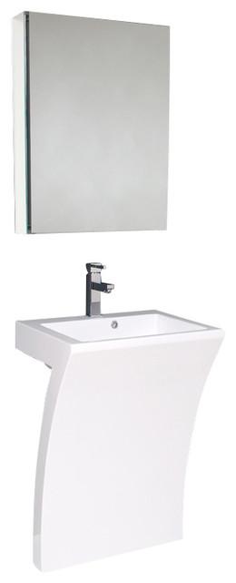 White Pedestal Sink Medicine Cabinet Bathroom Vanity Modern Bathroom