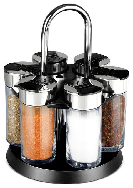 Revolving Spice Rack Set - Modern - Spice Jars And Spice Racks