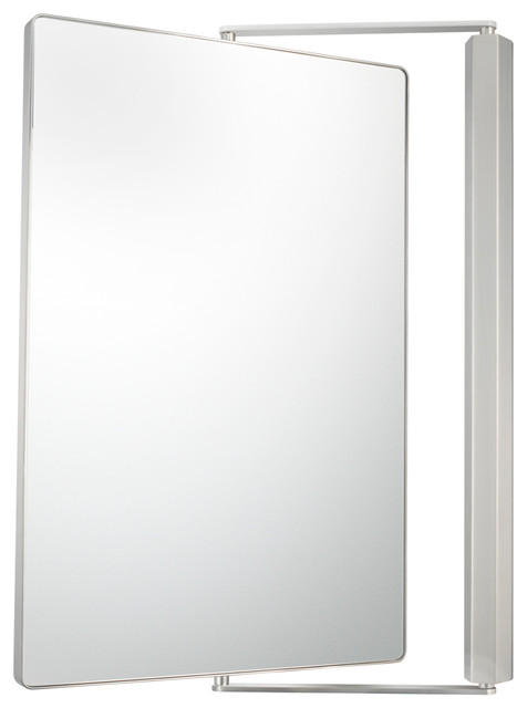 metro pivot mirror with 1x and 1x magnification brushed