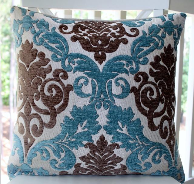 Blue Green And Brown Throw Pillows : Damask Paisley Peacock Blue/Aqua Brown Silver Backing Pillow Cover - Decorative Pillows ...