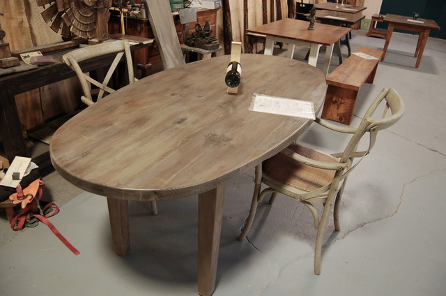 Oval farm table eclectic dining tables providence for Oval farmhouse coffee table
