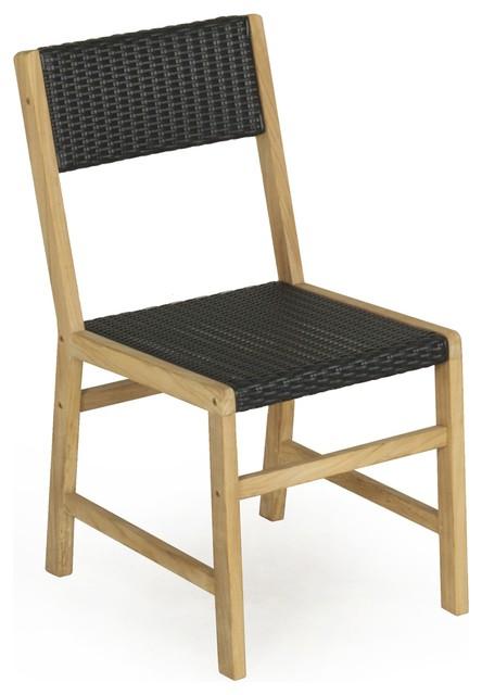 Rustik chaise en teck et osier montagne chaise de for Chaise en osier salle a manger