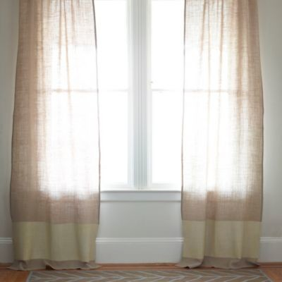 Burlap Color Block Window Panel Ivory Traditional Curtains