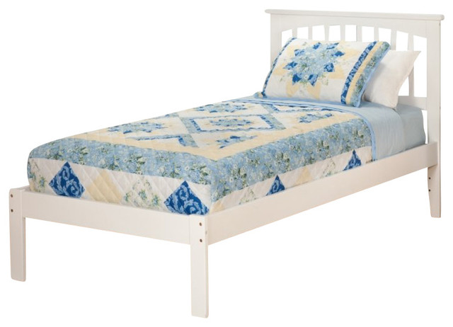Bed with open foot rail in white twin size traditional beds by