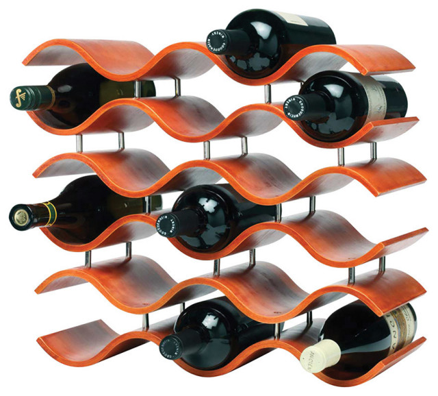 Bali Wave 15 Bottle Wine Rack Orange Tropical Wine