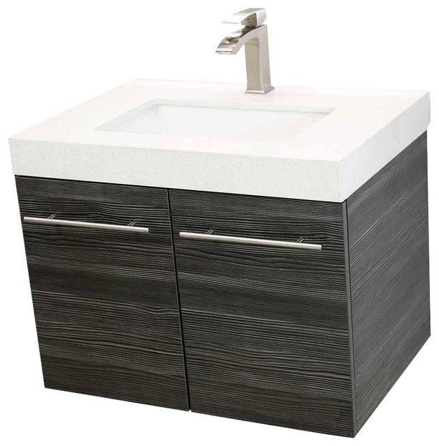 Vanity Counter Set : Windbay quot floating vanity sink set dark gray white
