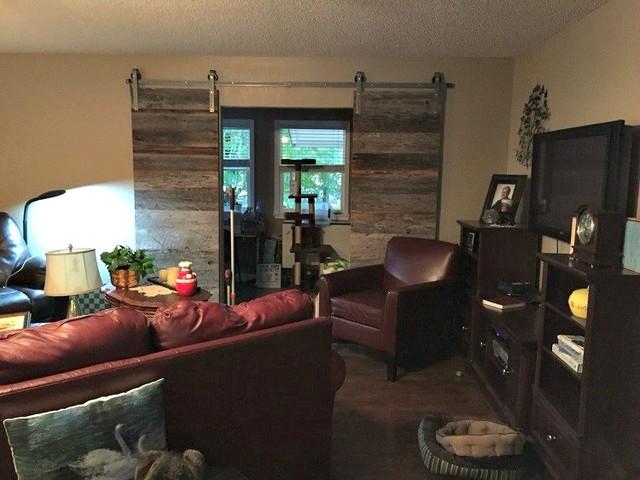 Double door raw steel sliding barn doors installed for Sliding barn door living room