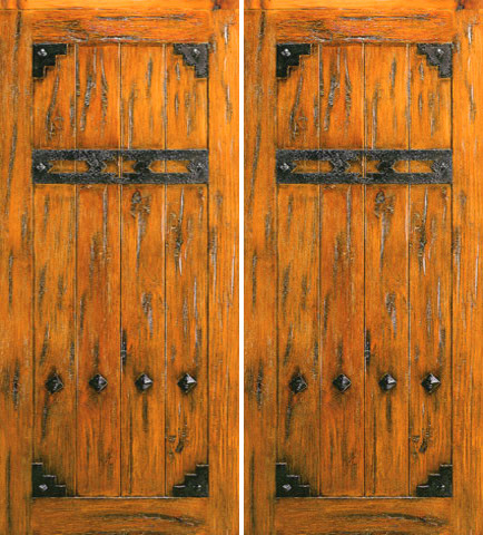 Exterior Double Door Knotty Alder V Grooved Clavos Straps Rustic Front Doors Tampa By