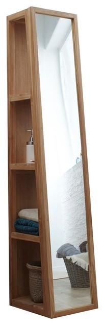 Colonne miroir oblique en bois de teck 30 twig contemporain placard et t - Placard miroir salle de bain ...