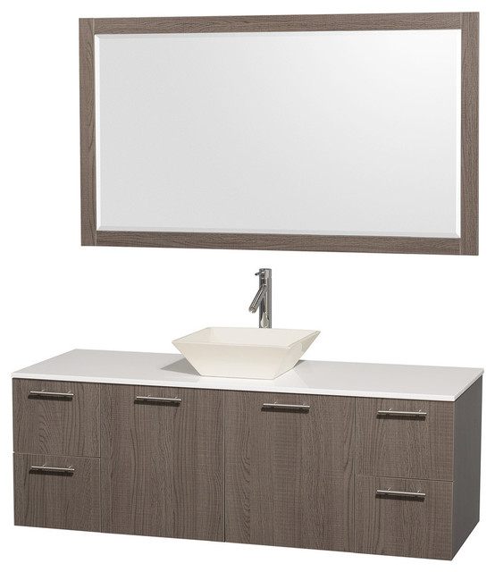 60 Single Bathroom Vanity In Grey Oak With White Man Made Stone Top Mirror Transitional