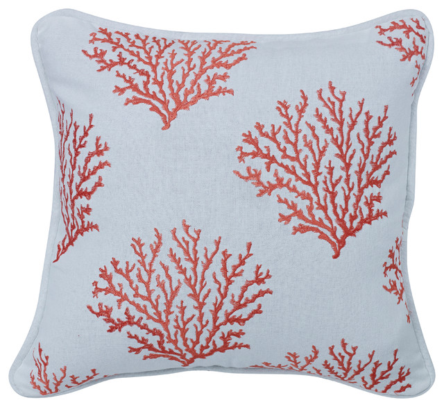Salmon Colored Embroidered Coral Pillow - Decorative Pillows - by HiEnd Accents