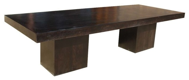 rustic solid wood large block double pedestal dining table