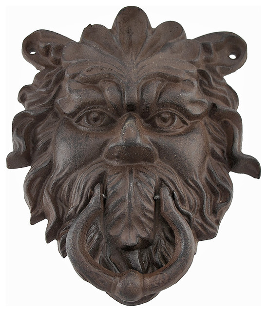 Cast iron greenman door knocker rust colored patina traditional door knockers by zeckos - Greenman door knocker ...