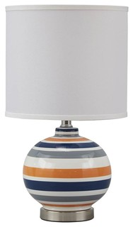 Ashley Sirene Blue,Orange and Gray Ceramic Table Lamp