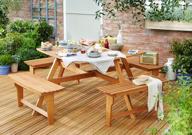 Aland Wooden Garden Furniture Traditional Outdoor Dining Sets By B Q