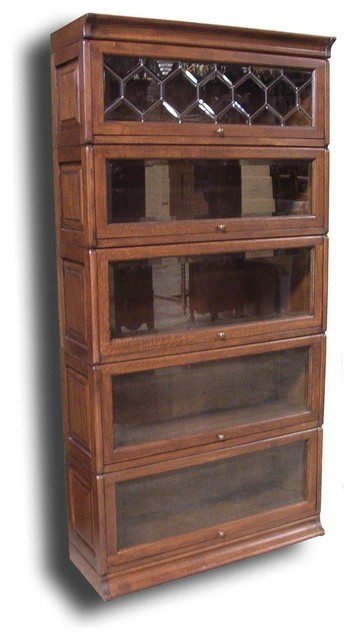 Five Stack Bookcase Antiqued Oak Glass - Traditional - Bookcases - by EuroLuxHome