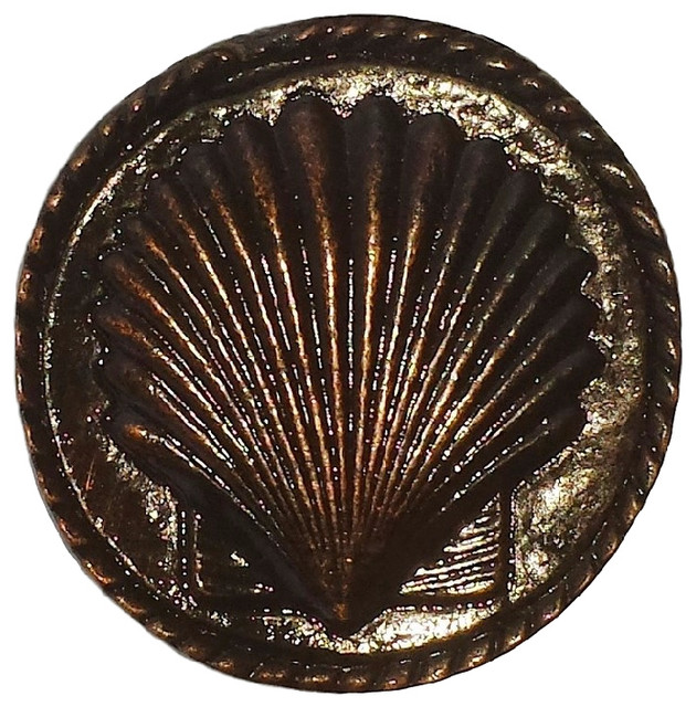 Sea Shell Cabinet Knob, Antique Brass, Small, Antique Copper - Cabinet And Drawer Knobs - by ...
