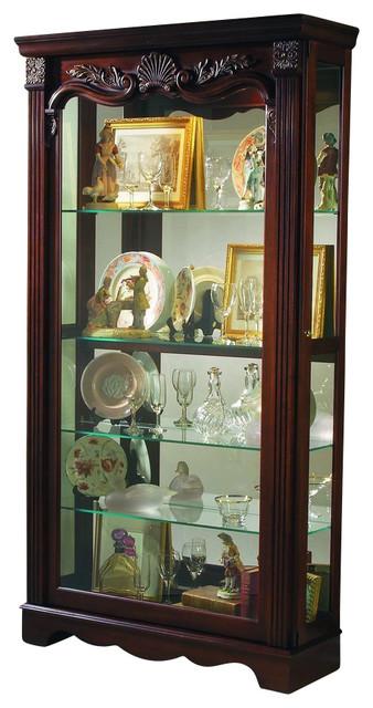 Pulaski Cappuccino Cherry 2-Way Sliding Door Curio - Contemporary - China Cabinets And Hutches ...