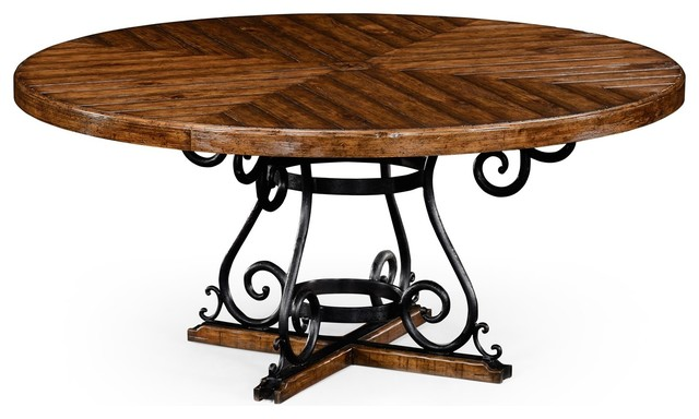 Country Farmhouse Walnut 66 Round Dining Table Farmhouse Dining Tables