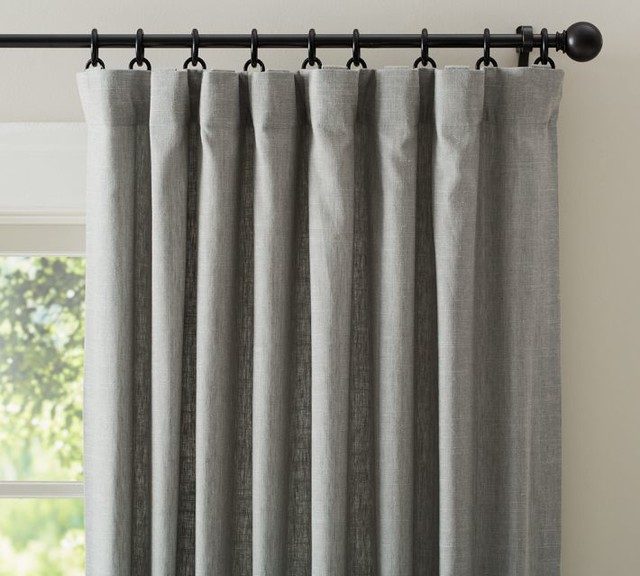 Emery Linen Drape, Gray - Traditional - Curtains - by Pottery Barn