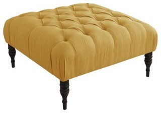 Button Tufted Upholstered Ottoman French Yellow
