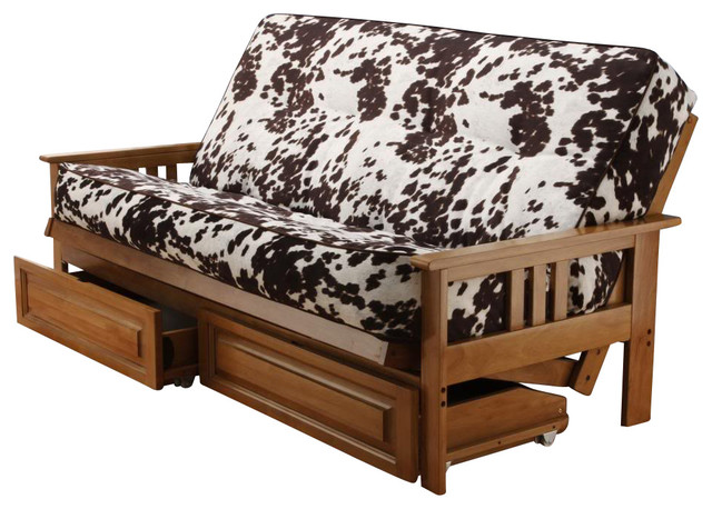 Andover full size futon sofa bed and drawer set honey oak for Wooden divan bed with drawers