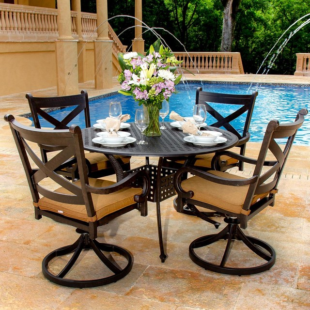 Contemporary Outdoor Dining Sets: Avondale 4-Person Cast Aluminum Patio Dining Set