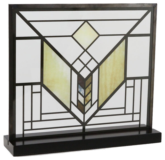 Frank lloyd wright lake geneva tulip stained glass for Frank lloyd wright craftsman