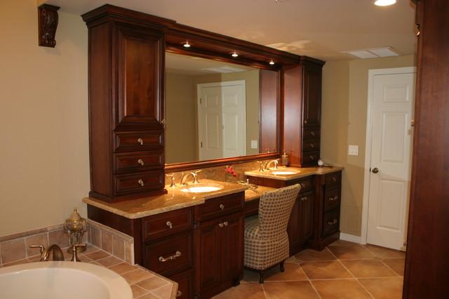Elegant master bath with warm rich tones traditional for Warm bathroom designs