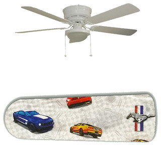"""Dad's Garage/Den FORD Mustang 52"""" Ceiling Fan and Lamp - Contemporary ..."""