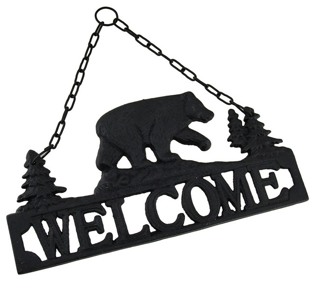 Rustic Black Bear Cast Iron Hanging Welcome Sign - Eclectic - Novelty ...