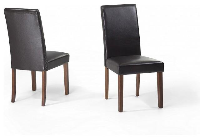 chaises de salle manger lot de 2 chaises en cuir brun broadway contemporary dining. Black Bedroom Furniture Sets. Home Design Ideas