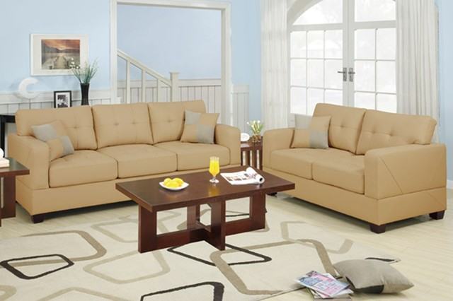Poundex furniture bonded leather match khaki 2 pcs sofa for Matching living room furniture sets