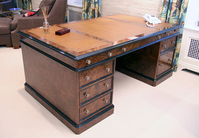Walnut burl antique reproduction partner's desk - Traditional - st louis - by NewSpace inc