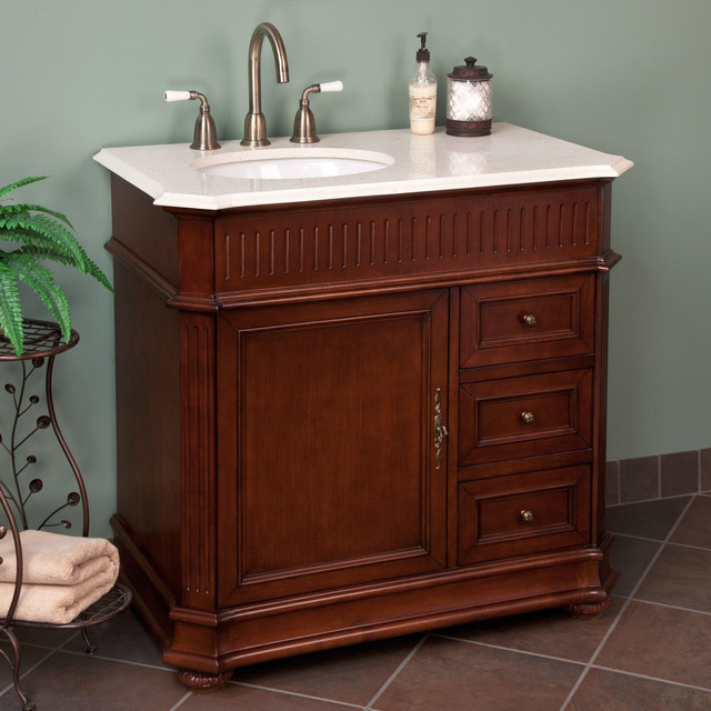 36 loudon vanity with offset bowl cherry traditional bathroom vanities and sink consoles - Bathroom vanity tops with offset sink design ...