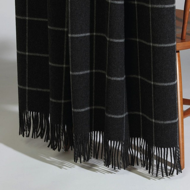 Quin Black Windowpane Throw - Traditional - Throws - by Ethan Allen