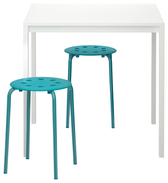 melltorp marius table and 2 stools white blue scandinavian furniture by ikea. Black Bedroom Furniture Sets. Home Design Ideas