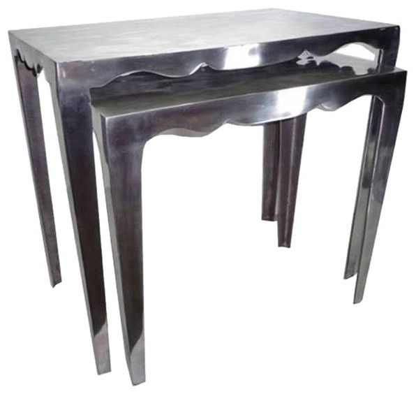 Metallic Aluminium Stackable Nesting Tables Set Of 2 Contemporary Coffee Tables By